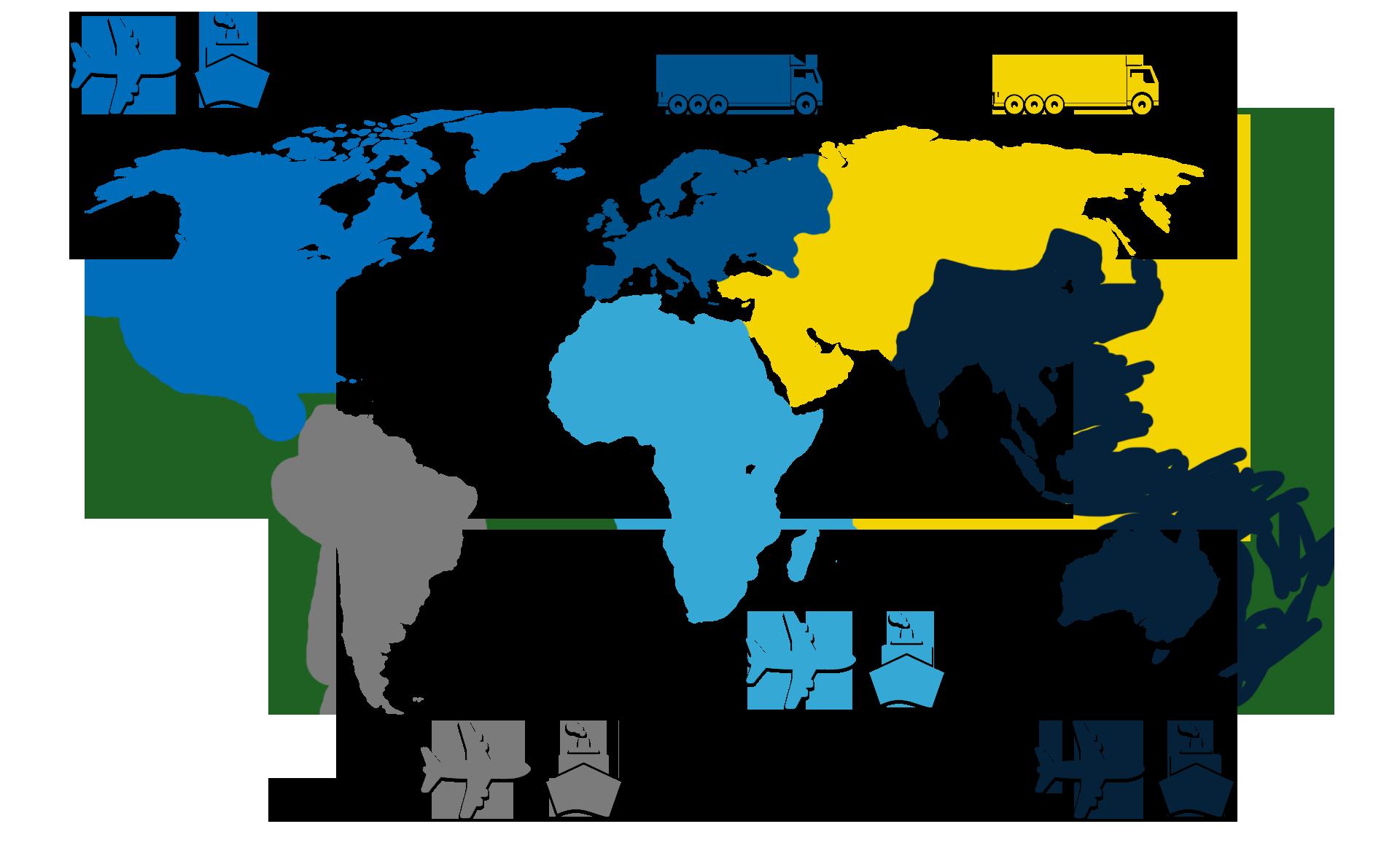 Mapa zasięgu działania - firma spedycyjna Inter Logistic Polska